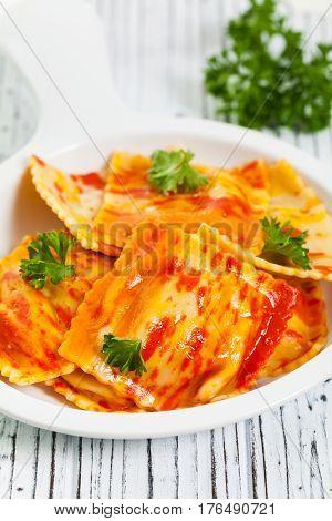 Roasted Pumpkin Gourmet Pasta Main Dish. Selective focus.