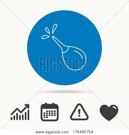 Medical clyster icon. Enema with water drops sign. Calendar, attention sign and growth chart. Button with web icon. Vector