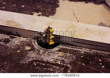 Yellow blade cutting wooden plank. Wood work.