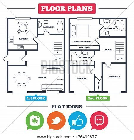 Architecture plan with furniture. House floor plan. Hipster photo camera icon. Like and Chat speech bubble sign. Hand thumb up. Bird symbol. Kitchen, lounge and bathroom. Vector