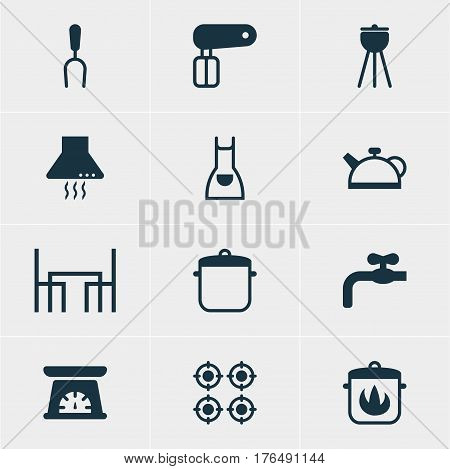 Vector Illustration Of 12 Cooking Icons. Editable Pack Of Smock, Whisk, Teakettle And Other Elements.