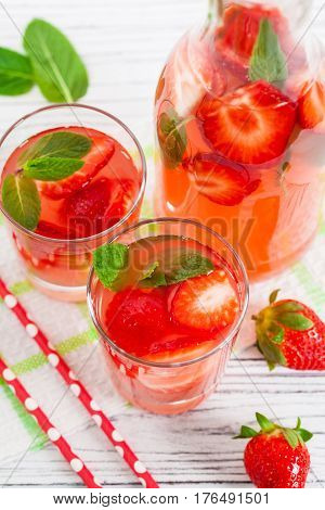 Strawberry Vodka Lemonade Summer Drink. Selective focus.
