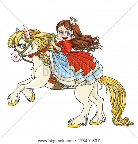 Cute princess riding on horse that bucks front hooves color isolated on a white background