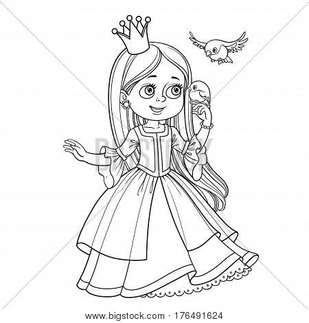 Cute Princess With Long Hair Holds On Finger Little Bird Outline