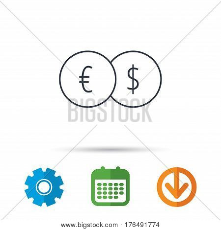 Currency exchange icon. Banking transfer sign. Euro to Dollar symbol. Calendar, cogwheel and download arrow signs. Colored flat web icons. Vector