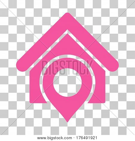 Realty Location icon. Vector illustration style is flat iconic symbol, pink color, transparent background. Designed for web and software interfaces.