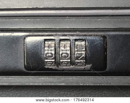 Safety lock on a briefcase with code 007