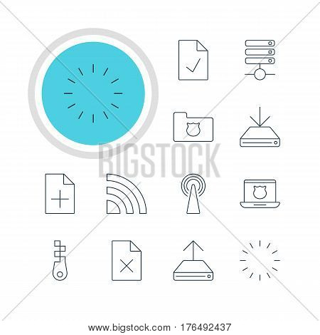 Vector Illustration Of 12 Network Icons. Editable Pack Of Router, Delete Data, Hdd Sync And Other Elements.