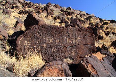 Native American Rock Art along the Rinconada Trail, Petroglyph National Monument, New Mexico