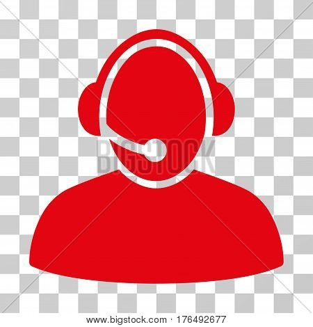 Call Center icon. Vector illustration style is flat iconic symbol, red color, transparent background. Designed for web and software interfaces.