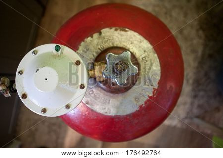 Gas cylinder with propane gas in the house cooking gas for cooking and heating