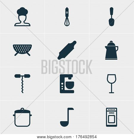 Vector Illustration Of 12 Kitchenware Icons. Editable Pack Of Oven, Bakery Roller, Wine And Other Elements.