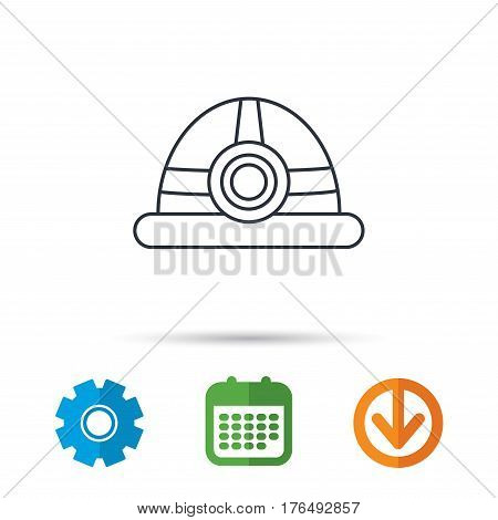 Engineering icon. Engineer or worker helmet sign. Calendar, cogwheel and download arrow signs. Colored flat web icons. Vector