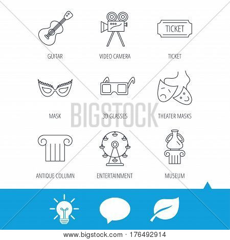 Museum, guitar music and theater masks icons. Ticket, video camera and 3d glasses linear signs. Entertainment, antique column icons. Light bulb, speech bubble and leaf web icons. Vector