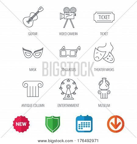 Museum, guitar music and theater masks icons. Ticket, video camera and 3d glasses linear signs. Entertainment, antique column icons. New tag, shield and calendar web icons. Download arrow. Vector