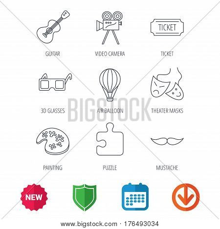 Puzzle, guitar music and theater masks icons. Ticket, video camera and 3d glasses linear signs. Entertainment, painting and mustache icons. New tag, shield and calendar web icons. Download arrow