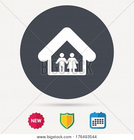 Family icon. Father and mother in home symbol. Calendar, shield protection and new tag signs. Colored flat web icons. Vector