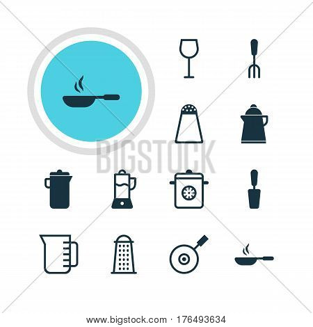 Vector Illustration Of 12 Restaurant Icons. Editable Pack Of Carafe, Slicer, Wine And Other Elements.