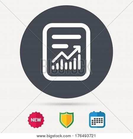 Report file icon. Document page with statistics symbol. Calendar, shield protection and new tag signs. Colored flat web icons. Vector