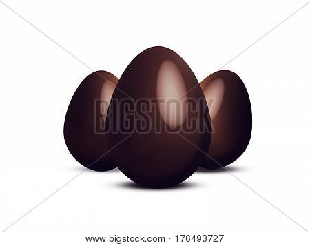 Abstract Illustration of isolated chocolate easter eggs in a white background
