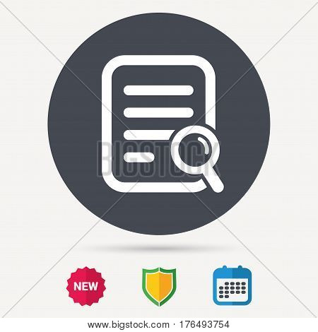 File search icon. Document page with magnifier tool symbol. Calendar, shield protection and new tag signs. Colored flat web icons. Vector
