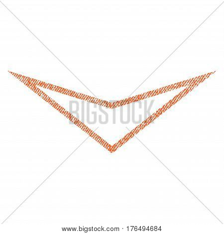 Arrowhead Down vector textured icon for overlay watermark stamps. Fabric orange vectorized texture. Symbol with dirty design. Rubber seal stamp with fiber textile structure.
