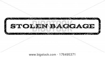 Stolen Baggage watermark stamp. Text tag inside rounded rectangle frame with grunge design style. Rubber seal stamp with dirty texture. Vector black ink imprint on a white background.