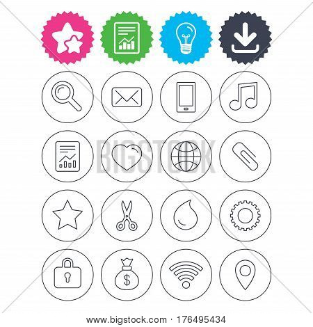 Download, light bulb and report signs. Universal icons. Smartphone, mail and musical note. Heart, globe and share symbols. Paperclip, scissors and water drop. Best quality star symbol. Flat buttons