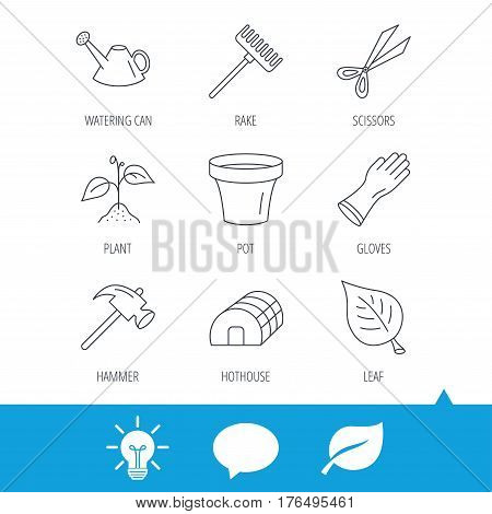 Sprout plant, scissors and pot icons. Gloves, rake and watering can linear signs. Hothouse, leaf and hammer flat line icons. Light bulb, speech bubble and leaf web icons. Vector