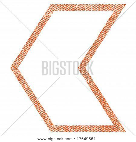 Arrowhead Left vector textured icon for overlay watermark stamps. Fabric orange vectorized texture. Symbol with dust design. Rubber seal stamp with fiber textile structure.