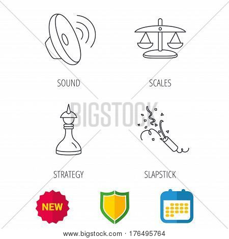 Scales of justice, sound and strategy icons. Slapstick linear sign. Shield protection, calendar and new tag web icons. Vector