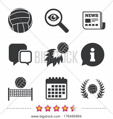 Volleyball and net icons. Winner award laurel wreath symbols. Fireball and beach sport symbol. Newspaper, information and calendar icons. Investigate magnifier, chat symbol. Vector