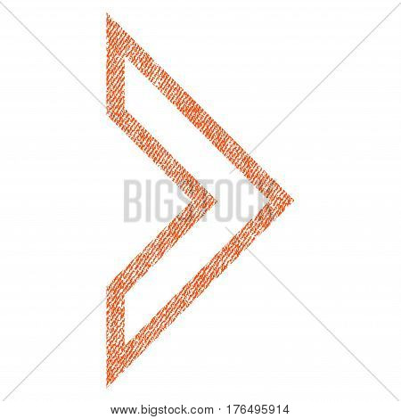 Arrowhead Right vector textured icon for overlay watermark stamps. Fabric orange vectorized texture. Symbol with unclean design. Rubber seal stamp with fiber textile structure.