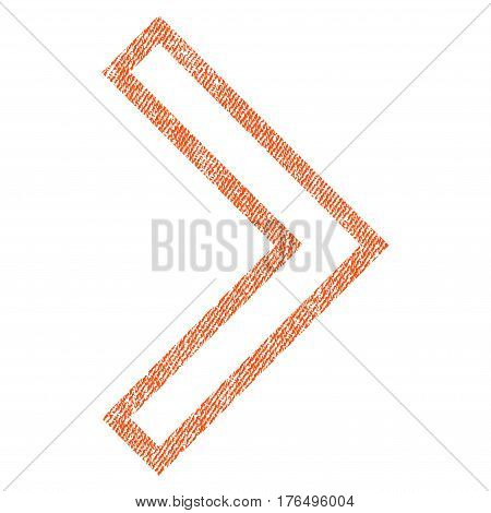 Arrowhead Right vector textured icon for overlay watermark stamps. Fabric orange vectorized texture. Symbol with scratched design. Rubber seal stamp with fiber textile structure.