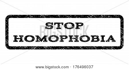 Stop Homophobia watermark stamp. Text tag inside rounded rectangle frame with grunge design style. Rubber seal stamp with unclean texture. Vector black ink imprint on a white background.