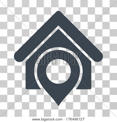 Realty Location icon. Vector illustration style is flat iconic symbol, smooth blue color, transparent background. Designed for web and software interfaces.