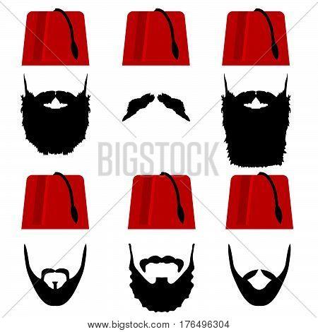 Man Head With Fez Set Illustration
