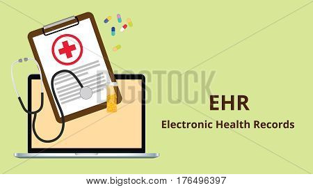 ehr electronic health record white text illustration with paperworks, stethoscope, capsules and vitamin tube vector
