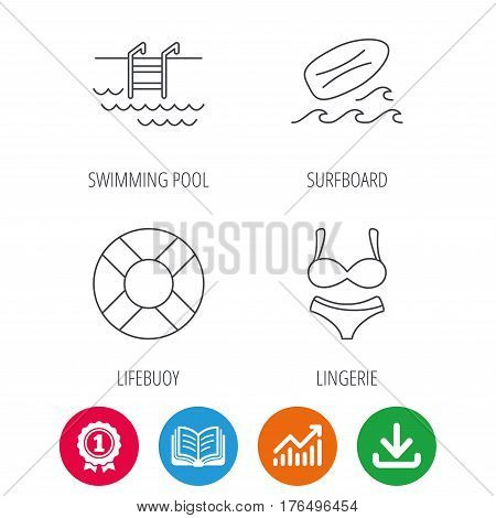 Surfboard, swimming pool and bikini icons. Lifebuoy linear sign. Award medal, growth chart and opened book web icons. Download arrow. Vector