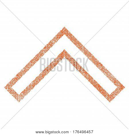 Arrowhead Up vector textured icon for overlay watermark stamps. Fabric orange vectorized texture. Symbol with dust design. Rubber seal stamp with fiber textile structure.