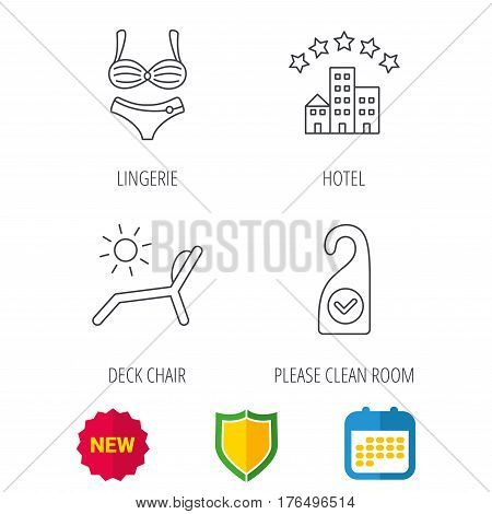 Hotel, lingerie and beach deck chair icons. Clean room linear sign. Shield protection, calendar and new tag web icons. Vector