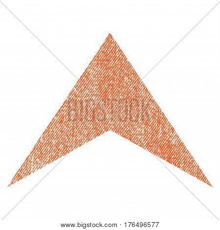 Arrowhead Up vector textured icon for overlay watermark stamps. Fabric orange vectorized texture. Symbol with unclean design. Rubber seal stamp with fiber textile structure.