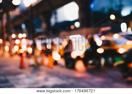 Abstract Blurred Traffic In City Vintage Tone