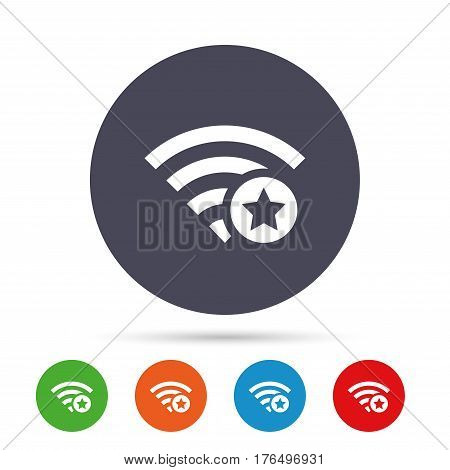 Wifi star sign. Favorite Wi-fi symbol. Wireless Network icon. Wifi zone. Round colourful buttons with flat icons. Vector