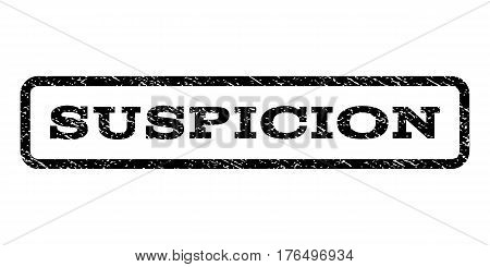 Suspicion watermark stamp. Text caption inside rounded rectangle frame with grunge design style. Rubber seal stamp with unclean texture. Vector black ink imprint on a white background.