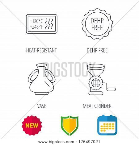 Meat grinder, vase and heat-resistant icons. DEHP free linear sign. Shield protection, calendar and new tag web icons. Vector