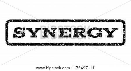 Synergy watermark stamp. Text tag inside rounded rectangle with grunge design style. Rubber seal stamp with unclean texture. Vector black ink imprint on a white background.