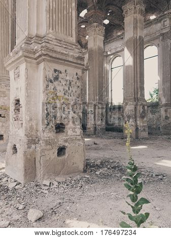 Ruins of ancient Lutheran church in Odessa Ukraine. Historic building in 1803 built first German settlers destroyed by vandals of proletariat during revolution in Russia in 20th century. poster