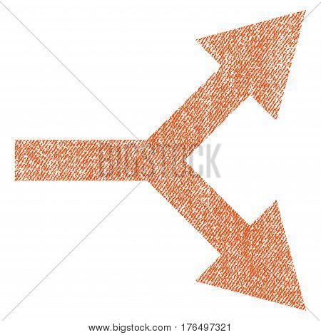Bifurcation Arrow Right vector textured icon for overlay watermark stamps. Fabric orange vectorized texture. Symbol with scratched design. Rubber seal stamp with fiber textile structure.