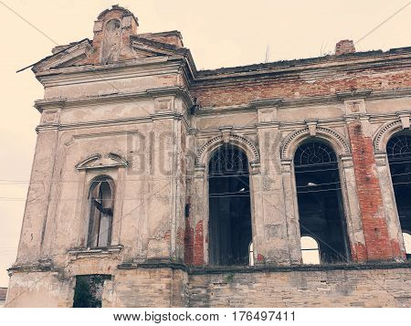 Ruins Of Ancient Lutheran Church In Odessa, Ukraine. Historic Building In 1803 Built First German Se